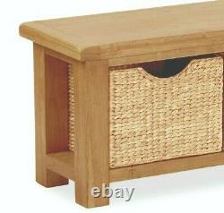 Oakvale Bench with Baskets / Solid Wood Hallway Bench With Wicker Basket Storage