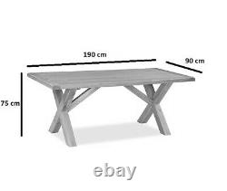 Oakvale Cross Dining Table / Solid Wood Fixed Top Kitchen Table / 6 8 Seater