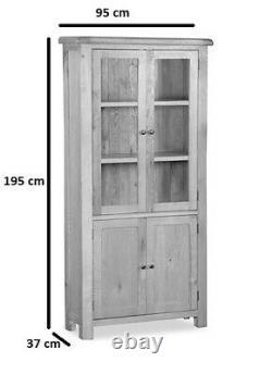Oakvale Display Cabinet / Solid Wood Glazed Shelving Unit / Bookshelf Storage