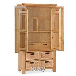 Oakvale Larder Unit / Solid Wood Food Storage Cabinet / Tall Cupboard with Doors