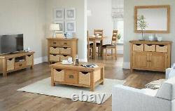 Oakvale Large Low Line Media Stand / Solid Wood 2 Drawer TV Unit / 180cm Wide