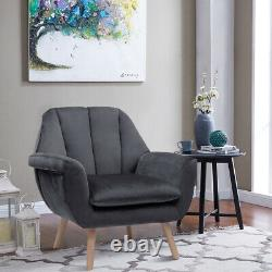 Occasional Velvet Grey Scallop Armchair Wingback with Oak Solid Legs Chair Sofa