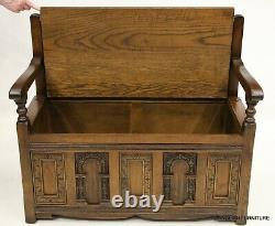 Old Charm Hall Seat Settle Monks Bench Light Oak Solid Oak FREE UK Delivery