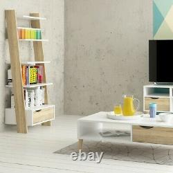 Oslo Retro Leaning Bookcase Shelving Unit 1 Drawer in White and Oak