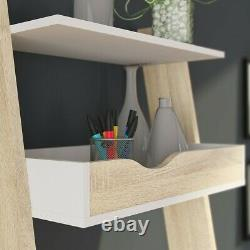 Oslo Retro Scandinavian Style Compact Slimline Leaning Desk in White and Oak