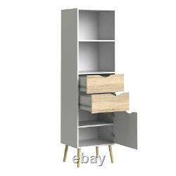 Oslo Retro Spindle Style Bookcase 2 Drawers 1 Door in White and Oak