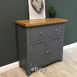 Painted Oak Sideboard Mini / Dark Grey Small Oak Cupboard / Solid Wood NEW Trend