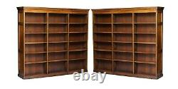 Pair Of Huge Solid Oak English Circa 1880 Double Sided Library Study Bookcases