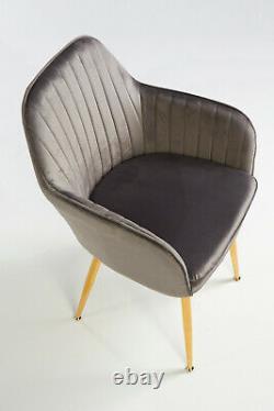 Pair of Designer Stylish Dark Grey Dining Chairs Velvet Seat Cushion Gold Legs