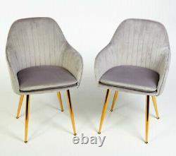 Pair of Designer Stylish Grey Dining Chairs Velvet Seat Cushion Gold Legs