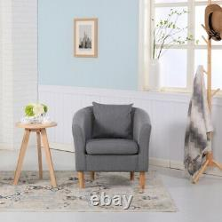 Premium Linen Fabric Tub Chair Armchair For Dining Living Room Office Reception
