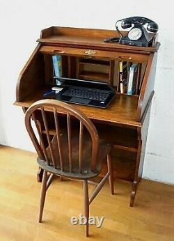 Rare Small Antique Oak Roll Top Desk Hall Bureau Secretaire With Book Shelves