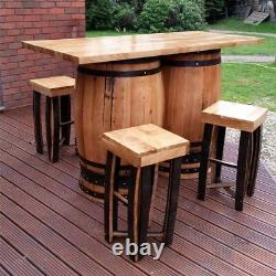 Recycled Solid Oak Double Whiskey Cask Bar Table Patio Table with Four Stools