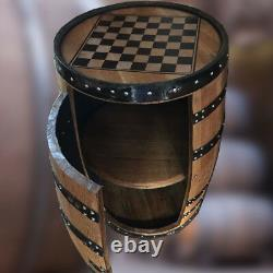 Recycled Solid Oak Whiskey Cask Balmoral Chess Board Drinks Cabinet