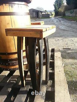 Recycled Solid Oak Whiskey Cask Bar Table Patio Table and 4 Stools Set