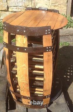 Recycled Solid Oak Whisky Barrel Cabinet Hamish pub Wine Rack Side Table