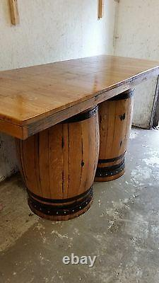 Recycled Solid Wooden Oak Double Whisky Barrel Bar Table Patio Table