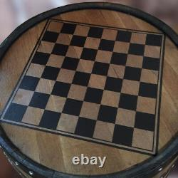 Recycled Solid Wooden Oak Whisky Barrel Balmoral Chess Board Drinks Cabinet