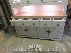 Regency Painted 6ft 7 Drawer Display Dresser- Solid Oak Top- Bespoke- Hand Made