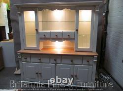 Regency Painted 8 Drawer Display Dresser- Solid Oak Top- Bespoke- Hand Made