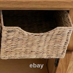 Rustic Oak Sideboard Storage Baskets 2 Doors Zelah Solid Wood Waxed Furniture
