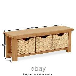 Rustic Oak Storage Bench 3 Baskets Hallway Seat Shoe Storage Zelah Solid Wood