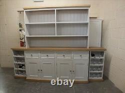 Rutland Painted 6ft Open Top Display Dresser Solid Oak Top&plinth Handmade