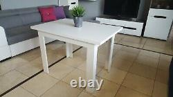 SET of extending dining table and 4 solid wood chairs white, small&great! 110cm