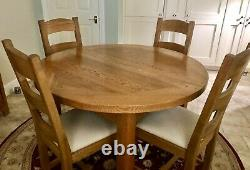 SOLID OAK ROUND DINING TABLE & 4 CHAIRS (John Lewis) Preowned