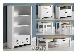 Seconique Ludlow Occasional Furniture White & Oak- Tables Sideboard TV Unit