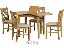 Seconique Oxford Oak Extending Dining Set Table + 4 Suede Chairs Solid Wood