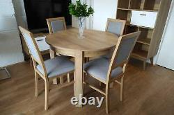 Set 4 chairs & small round table in oak riviera extending to 195cm, high quality