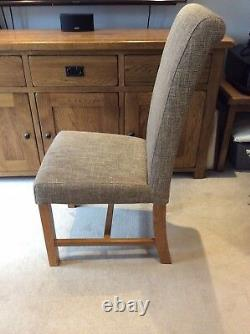 Set Of Four Solid Medium Oak Natural Mink Dining Chairs