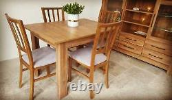 Set of extending dining table and 4 wooden chairs strong, solid, oak stirling Ma