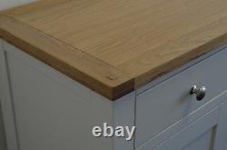 Sideboard Cabinet Cupboard Solid Oak Pine Slim in 2 Drawer Dorset French Ivory