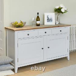Signature Solid Wood 2 Door 3 Drawer Large Sideboard Storage Grey Limed Oak Top