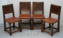 Six Very Rare 1930's Burr Oak Restored Robert Mouseman Thompson Dining Chairs 6