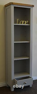 Slim Bookcase Display Solid Cabinet Oak Pine in Dorset Painted French Grey