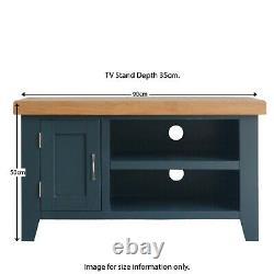 Small Blue Wooden TV Stand Unit Painted Entertainment Cabinet Oak Top Chatsworth