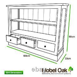 Small Low Solid Oak Bookcase Light Oak Hallway Furniture 504