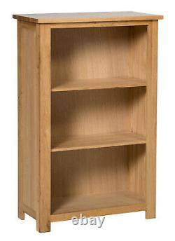 Small Oak Bookcase 3 Shelf Storage Low Bookshelf Solid Wood Shelving Unit