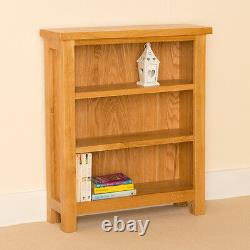 Small Oak Bookcase Compact Shelving Unit Low Shelves Newlyn Solid Wood Furniture