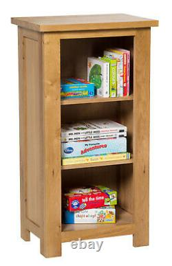 Small Oak Bookcase Narrow Storage Low Bookshelf Solid Wood 3 Shelving Unit