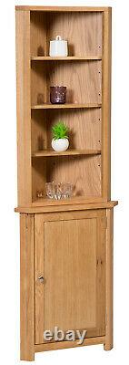 Small Oak Corner Open Storage Top Low Cabinet with Shelf Solid Wood Unit