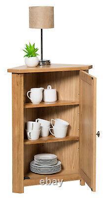 Small Oak Corner Storage Cupboard Low Cabinet with Shelf Solid Wood Unit