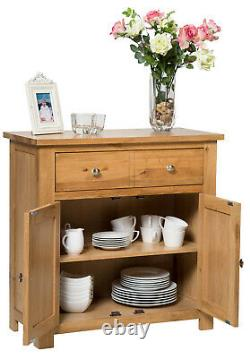 Small Oak Sideboard Compact Storage Dresser/Cupboard/Cabinet Solid Wood Unit
