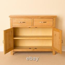 Small Oak Sideboard Cupboard with Drawers & 2 Doors Newlyn Solid Wood Storage