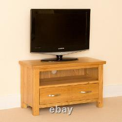 Small Oak TV Stand Unit Modern Solid Wood Cabinet Newlyn Living Room Furniture
