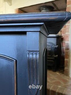 Small Solid Oak Gustavian Style Black Painted Hall Cupboard Cabinet Sideboard