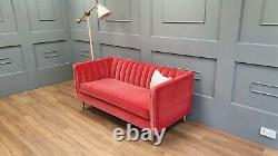 Sofa. Com Ruby 2 seater sofa in Dusty Rose pink velvet with Oak Legs RRP £1350